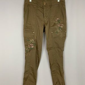 WHBM floral embroidered skinny cargo pants